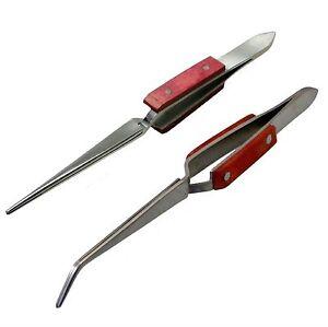 2x-Fibre-Grips-Tweezers-Reverse-Action-Stainless-Steel-Heat-Resistant-Soldering