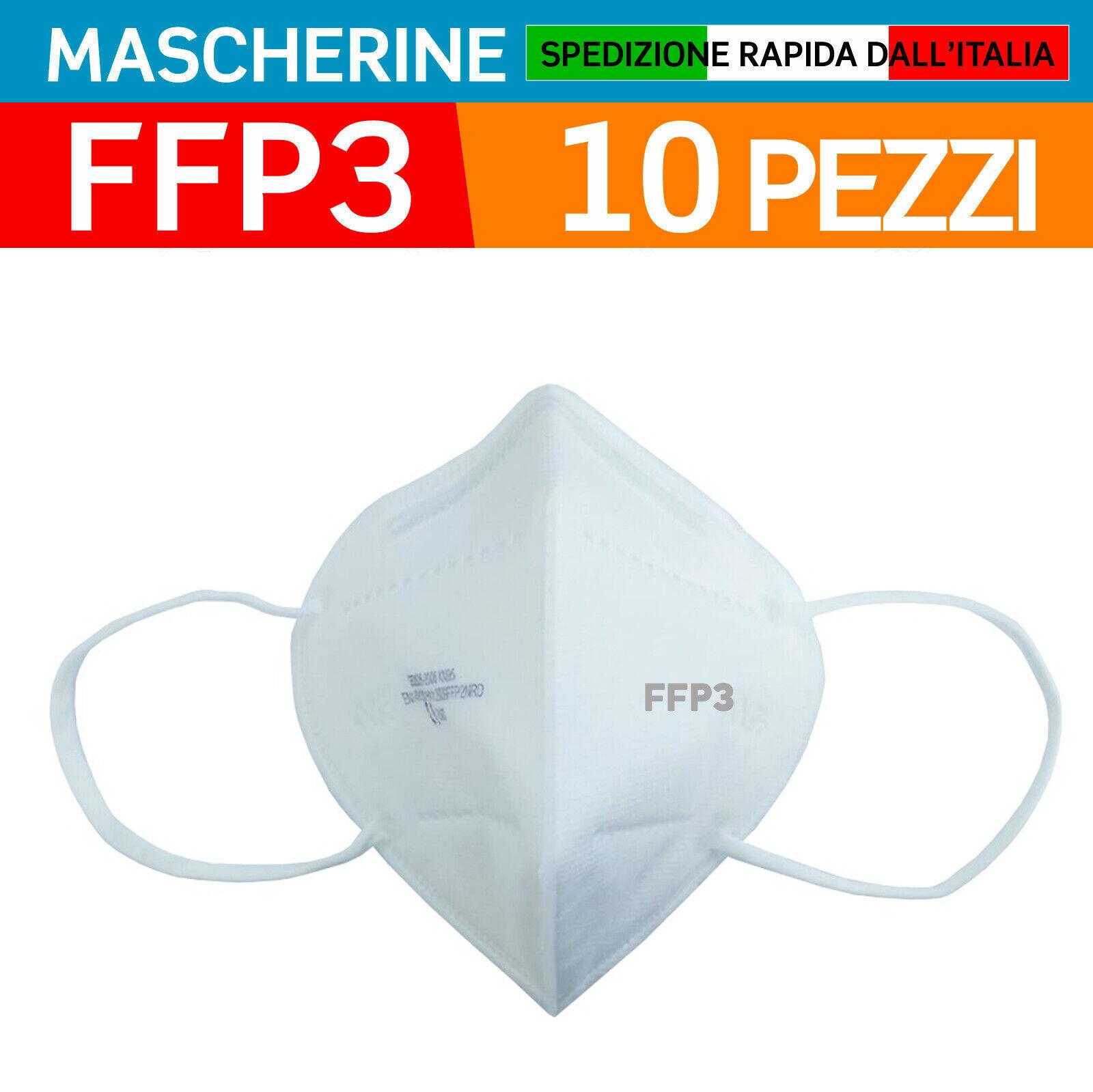 10 MASCHERINE PROTETTIVE FFP3 CERTIFICATE CE 0086 INAIL MASCHERINA SENZA VALVOLA