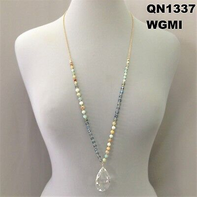 Beads Long Chain (Bohemian Style Mint Beads Long Chain Tear Drop Clear Crystal Statement Necklace )