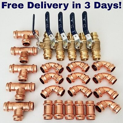 Lot Of 25 2 Propress Copper Fittings.tees Elbows - Couplings - Press Fitting