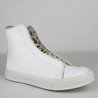 $480 Alexander McQueen Men's White/Ivory Canvas Hi Top Sneaker 457297 9026