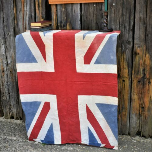 Vintage Union Jack Flag British Made Coronation England Printed Wall Hanging