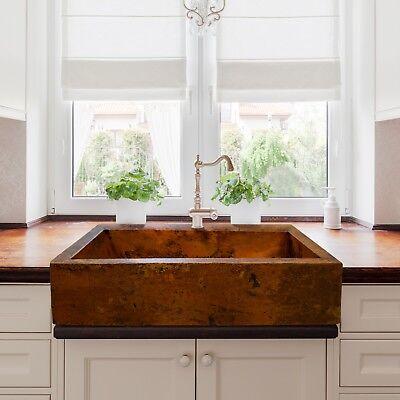 Hammered Copper Farmhouse Sink -  Hammered Copper Apron Farmhouse Kitchen Sink 36