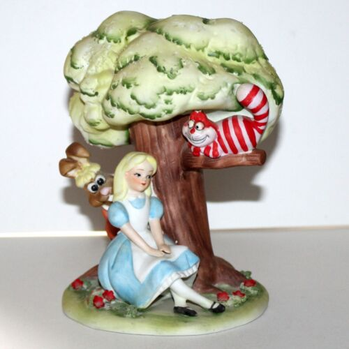 Vintage Walt Disney Alice in Wonderland porcelain figure tree Rabbit Cat
