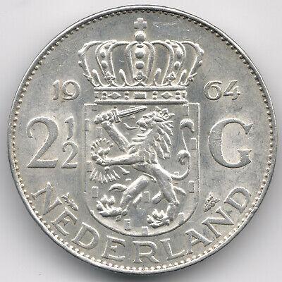 Netherlands : 2 1/2 Gulden 1964 Silver