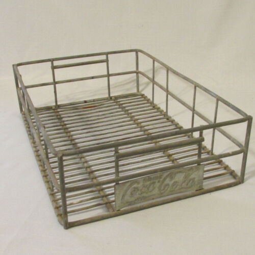 Vintage Coca Cola Metal Wire Crate Carrier with Advertising Plaque Sign on Front