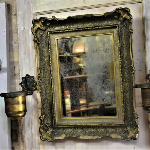 Antique Decorative Gesso Gilt Mirror Foxed Looking Glass Plaster Glass