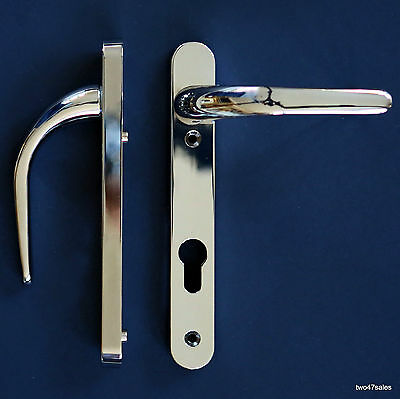 Easy Fit POLISHED CHROME Door Handles Set Front Lever 92mm uPVC lock silver