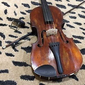 Antique Violin with Bow for Repair / Restoration