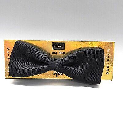 1960s – 70s Men's Ties | Skinny Ties, Slim Ties 1960s Sears Silk Clip-on Bow Tie, Black, Vintage Formal Wear Clothes Accessories $12.00 AT vintagedancer.com