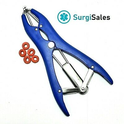 Elastrator Stretching Forcep Blue Veterinary Instrument German With 5 Ringsband