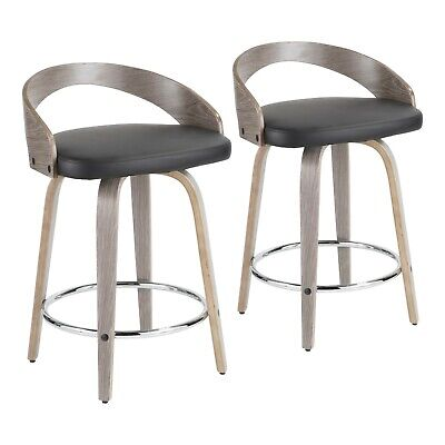 Grotto Swivel Counter Stools in Light Grey Wood & Black Faux Leather (Set of -