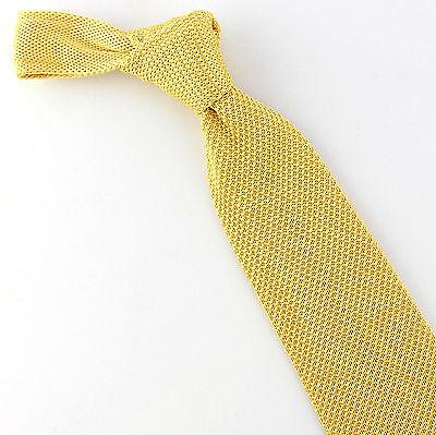 Lorenzo Solid Tie (Umo Lorenzo Solid Knit Men's Necktie Knitted Fashion Yellow Neck Tie)