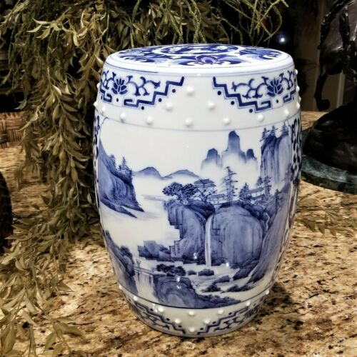 Vintage Blue & White Chinese Porcelain Garden Stool Barrel with Temple Waterfall