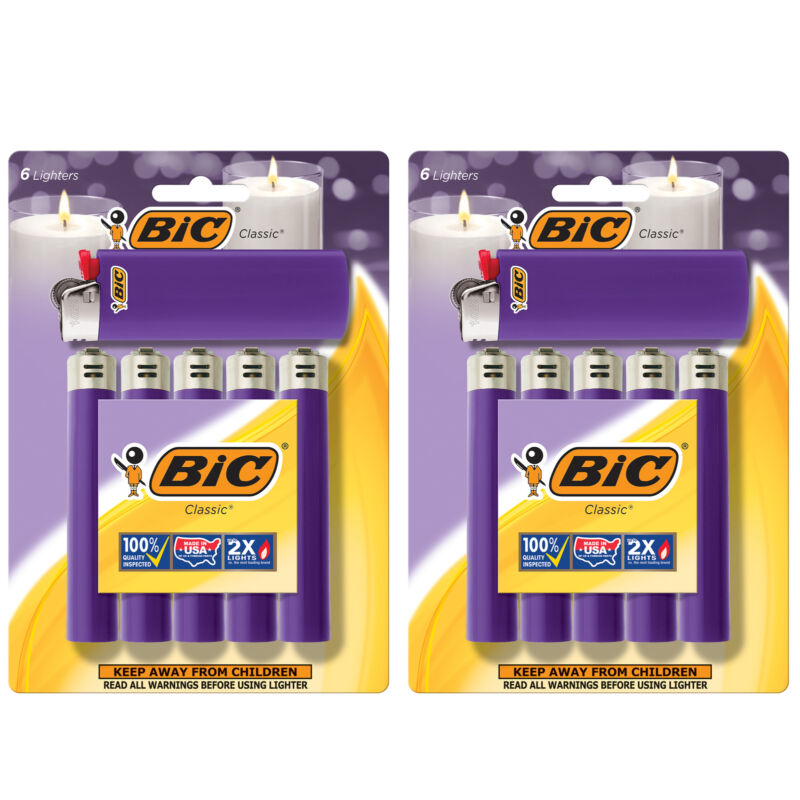 BIC Classic Lighter, Purple, 12-Pack (packaging may vary)
