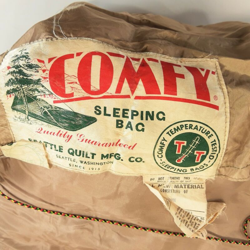"VINTAGE 1960s ""COMFY"" DOWN FILLED SLEEPING BAG - SEATTLE QUILT COMPANY - DAMAGED"