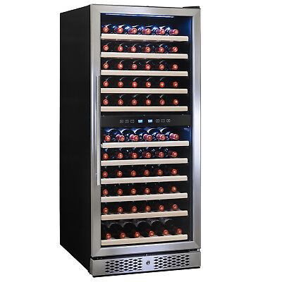 116 Bottles Dual Zone Built-in Compressor Touch Control Wine Cooler Refrigerator