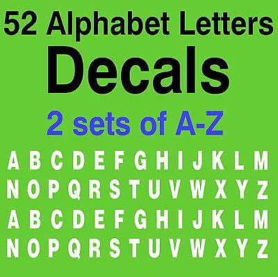 A-Z ALPHABET LETTERS DECALS 1 SET OF 2 26 A-Z LETTERS 52 LETTERS VINYL - Letters Of Alphabet