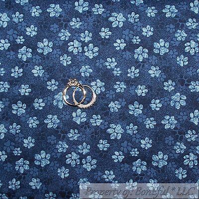 BonEful Fabric FQ Cotton Quilt Navy Blue Puppy Dog Cat Animal Paw Print USA Bear