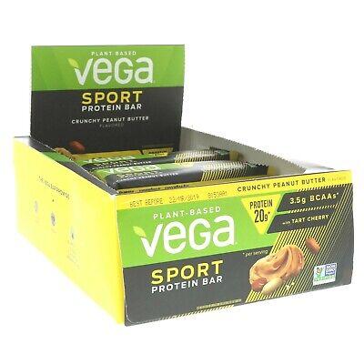 Vega Sport 20g Vegan Protein Non-GMO Bar, Box of 12 Bars CRUNCHY PEANUT BUTTER