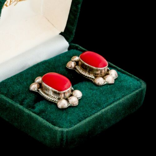Antique Vintage Deco 925 Sterling Silver TAXCO Red Coral Etruscan Earrings 11.6g