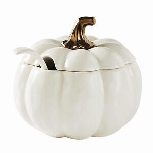Pumpkin Soup Tureen Ladle Thanksgiving Fall Serving Bowl Dish Earthenware NEW