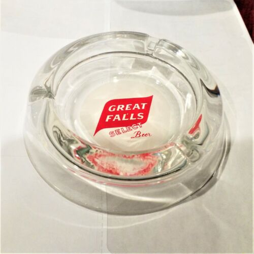 Vintage GREAT FALLS SELECT Beer Ashtray Glass