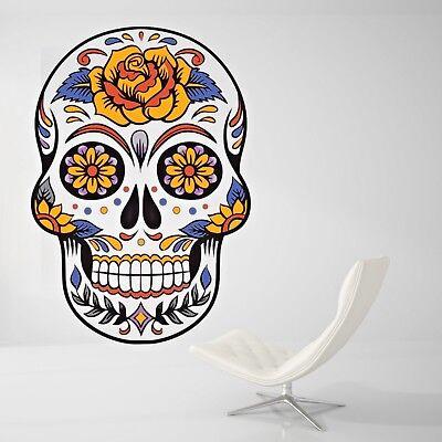 Skull Flower Wall Decal Home Room Art Decor Day Dead Wall Paper Sticker J475