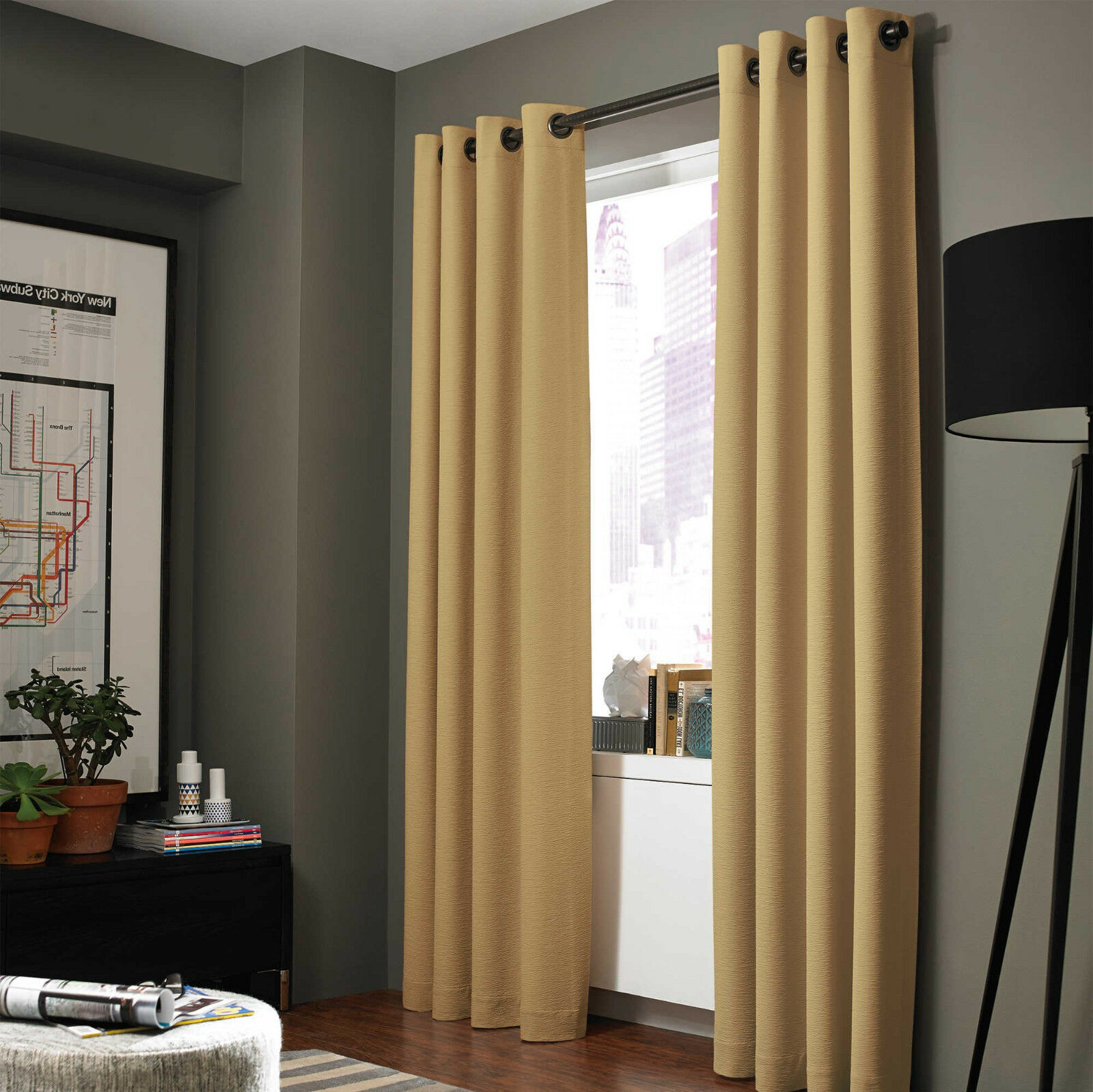 100 Blackout 2 Panels Lined Backing Heavy Thick Grommet Bay Window Curtain ADAM