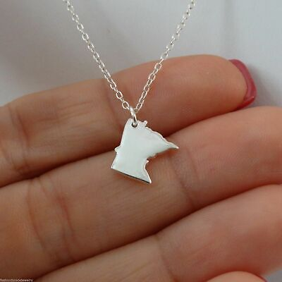 - Minnesota State Charm Necklace - 925 Sterling Silver - US State Charms MN NEW
