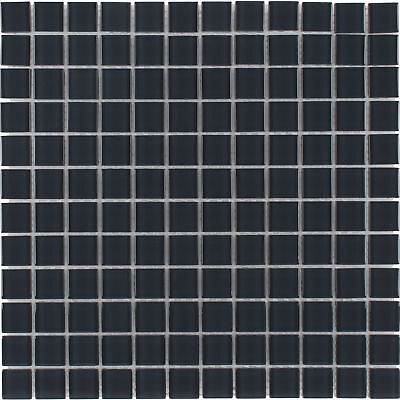 Modern Uniform Squares Black Glass Mosaic Tile Backsplash Kitchen Wall MTO0359 ()