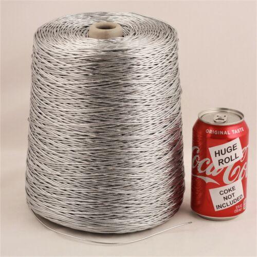 BULK LOT Solid Silver Metallic #21 Needloft Nylon Craft Cord - 4,000 feet! USA