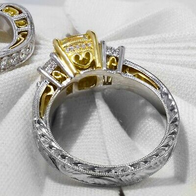 2.25 Ct Cushion Cut Canary Antique Hand Carved Diamond Engagement Ring VS1 GIA 1