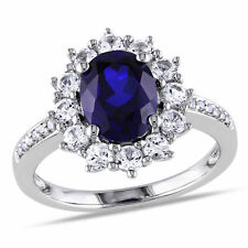 Amour Sterling Silver Blue and White Sapphire Ring with Diamond Accent