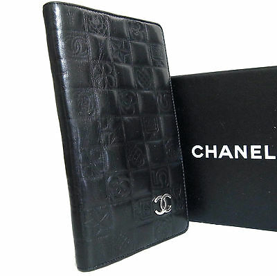 Auth Chanel Icon Symbols CC Long Bifold Wallet Black Leather Italy Used in Box