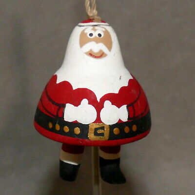 Christmas Ornament Ceramic SANTA Terracotta Feather Tree DANGLE LEGS 2""