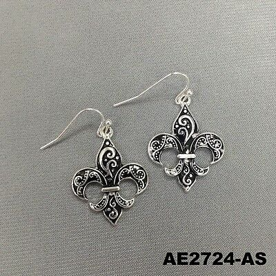Fleur de Lis Shape Vine Branch Design Drop Dangle Silver Finish Hook Earrings ()