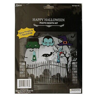 1d Halloween Party (MB*7pc PHOTO BOOTH KIT Party Supplies HALLOWEEN Props+Backdrop MONSTERS+HAT)
