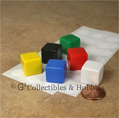 Stickers Dice - NEW 6 Multicolor Blank Dice Set w/ Stickers  6 Colors 16mm  5/8 inch RPG Game D6