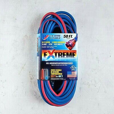 50' 14 Gauge Cold Weather Extension Cord w Lighted Outlet -