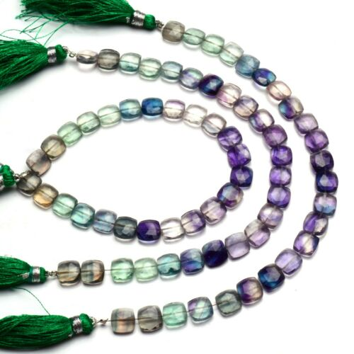 Natural Gem Multi-color Fluorite Faceted 8MM Size Cushion Shape Beads 8.5 Inch