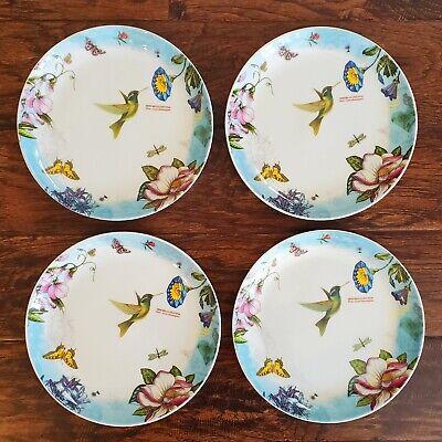 "*4* Rare Portmeirion Botanic Hummingbird 9 1/8"" Salad Plates Discontinued !!!"