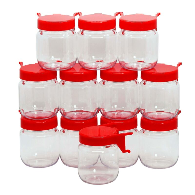 Pegboard Accessories Organizer Storage Jars Crush & Impact Resistant Plastic RED