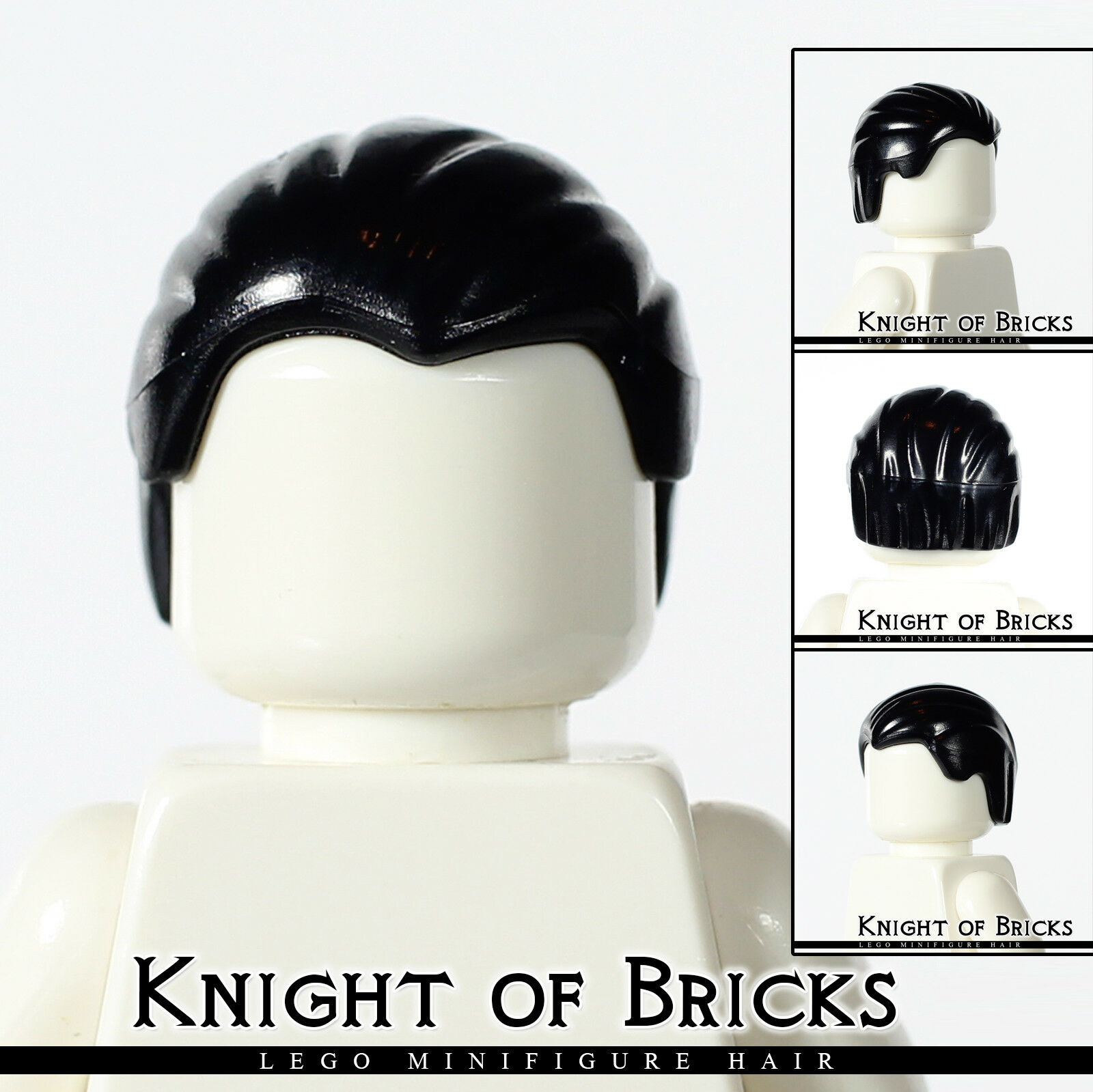 NEW Lego Minifig Boy BLACK HAIR Slicked-Back Front to Rear Male Head Gear