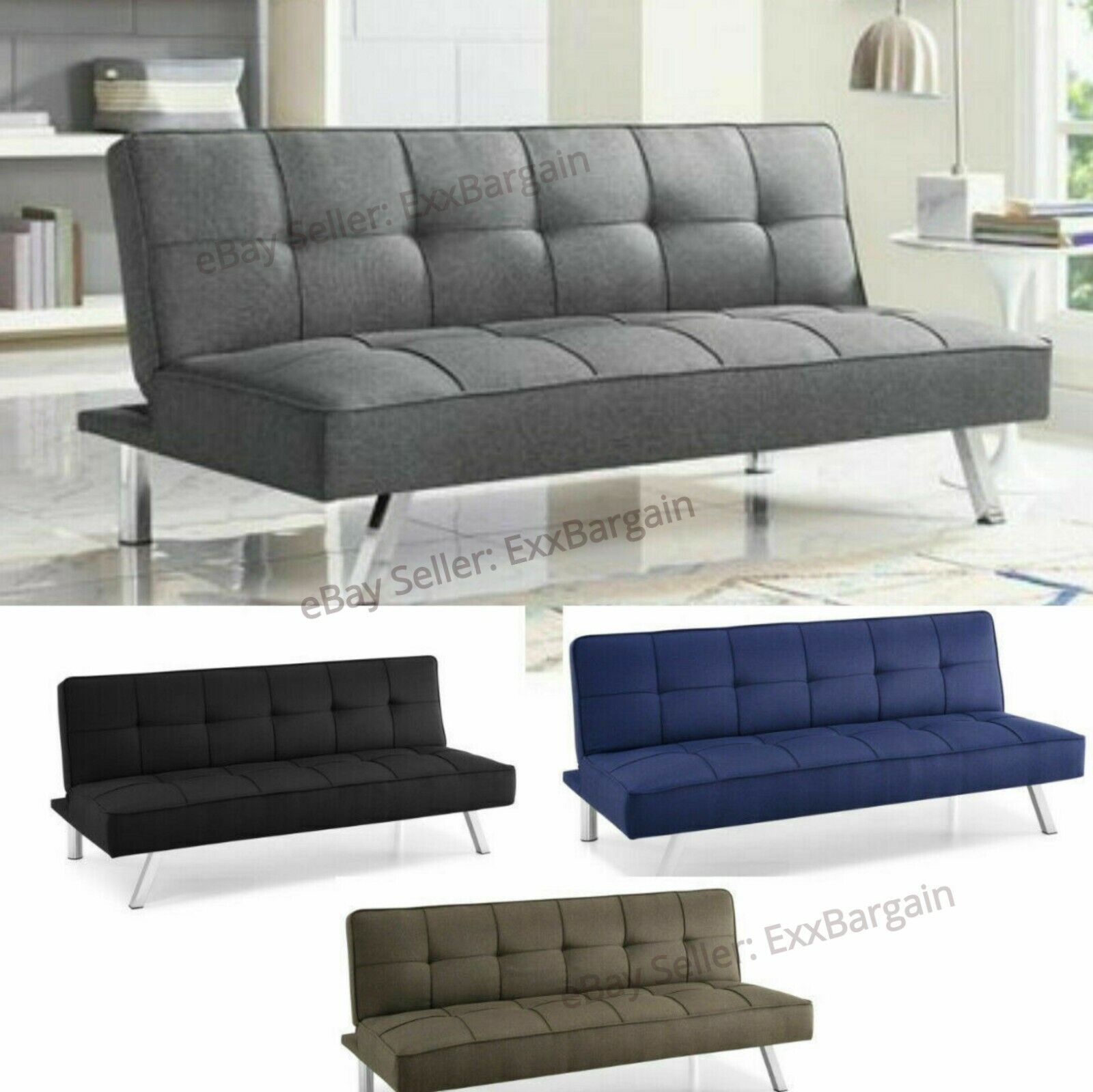 Modern Futon Sofa Couch Bed Sleeper Convertible Lounge Livin