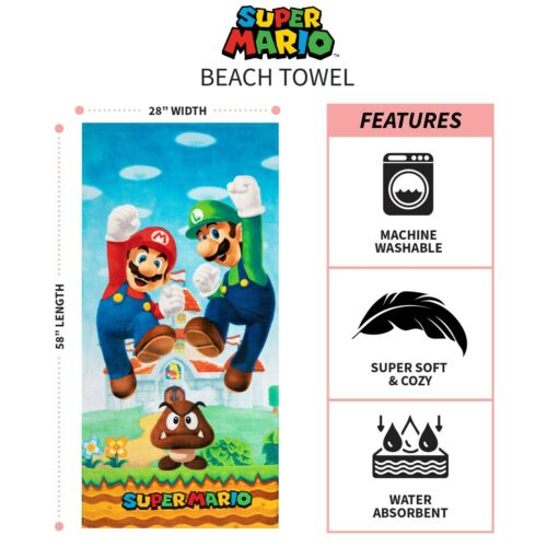 Super Mario and Luigi Super Soft Cotton Beach Towel, 28 x 58