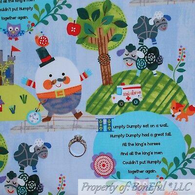 BonEful FABRIC FQ Cotton Quilt VTG Humpty Dumpty Old Nursery Rhyme Baby Boy Girl