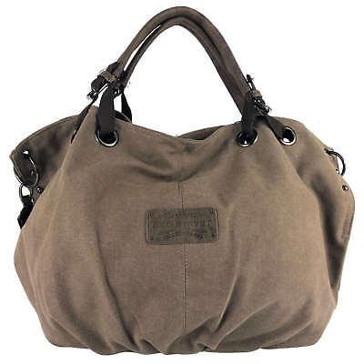 Tasche Braun Stoff Handtaschen (Grosse Damen Handtasche Shopper Beuteltasche Umhängetasche Canvas Stoff Braun)