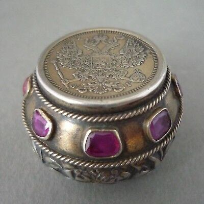 Silver Box Case (ANTIQUE SILVER RUBY GEM SET AUSTRO HUNGARIAN IMPERIAL RUSSIAN COIN PILL)