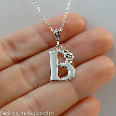 Celtic Initial Letter B Necklace - 925 Sterling Silver - Celtic Knot Initial